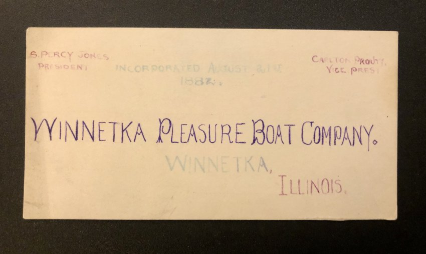 Winnetka Pleasure Boat Company Business Card