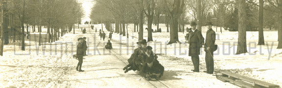 Sledding on Oak Street circa 1900