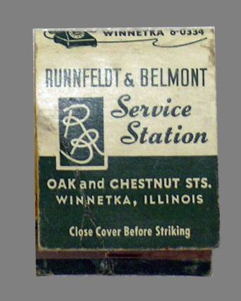 Matchbook from Runnfeldt & Belmont Service Station, WHS Object ID 1996.2016