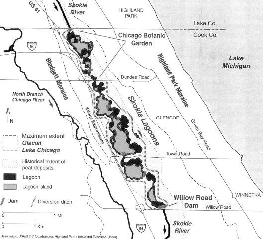 Map showing geological context of the Skokie Lagoons.