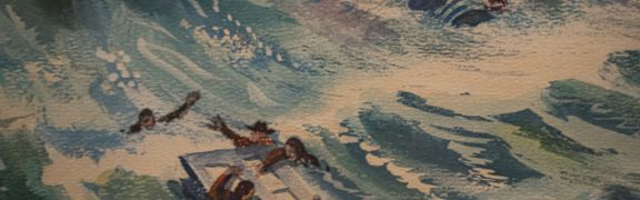 Detail from a painting of the Lady Elgin disaster that shows a door floating in Lake Michigan