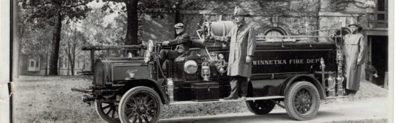 Winnetka Fire Department Firemen and Truck, 1915