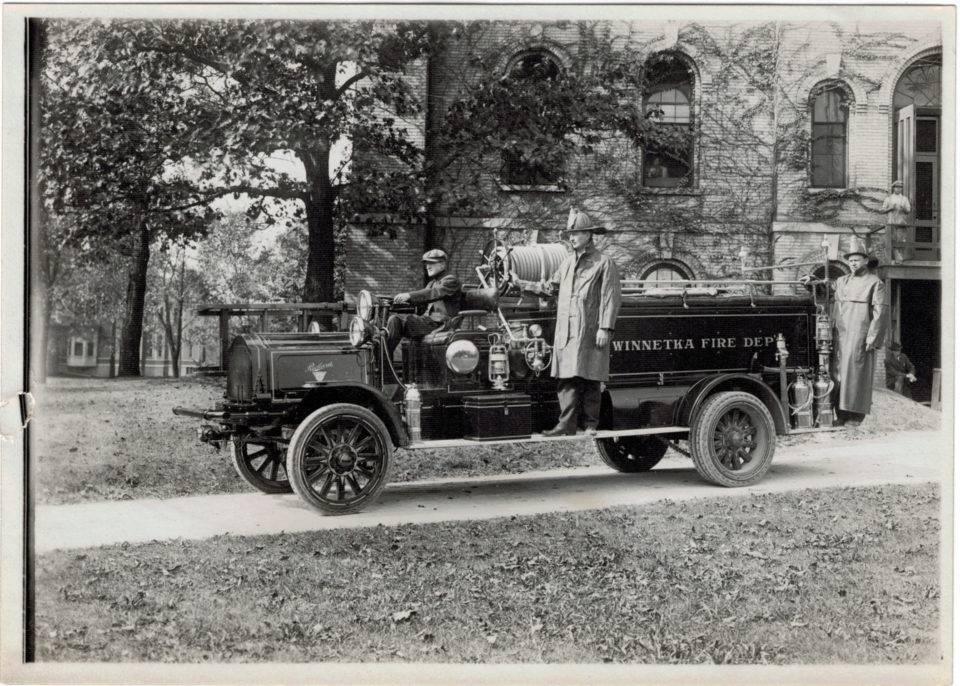 Winnetka Fire Department Firemen and Truck, 1915