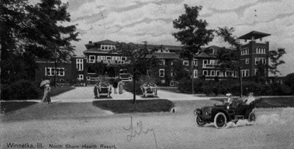 A postcard depicting the elegant grounds of the North Shore Health Resort on Sheridan Road.