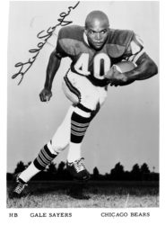 A boy's treasured promotional photo of Chicago Bears' Halfback Gale Sayers.